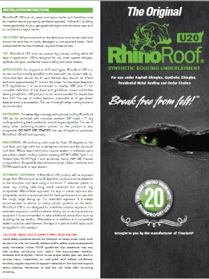 Rhino Roof Synthetic Underlayment