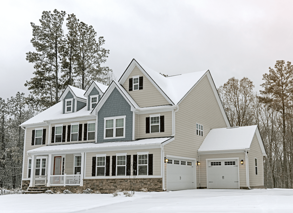 Home during snowy winter